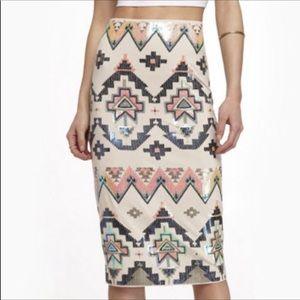 Express Aztec Sequin Pencil Midi Skirt Size S